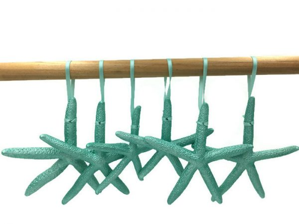 Metallic Turquoise Starfish Ornaments