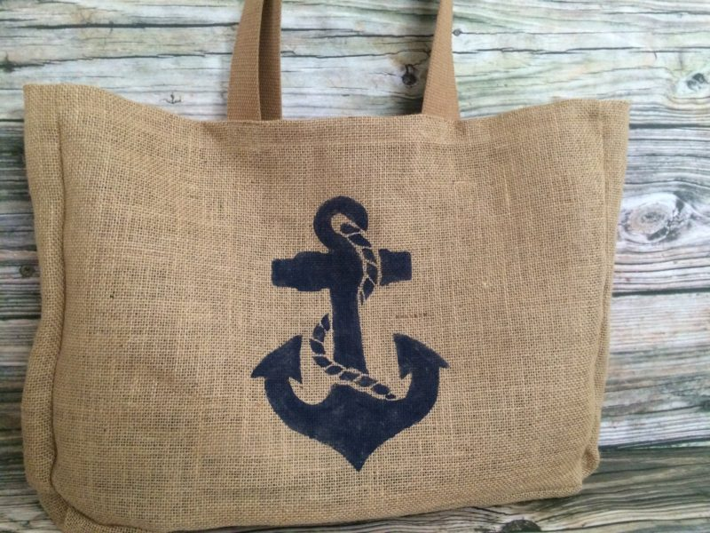 Nautical anchor with rope large burlap beach bag sea 2 for Large nautical rope
