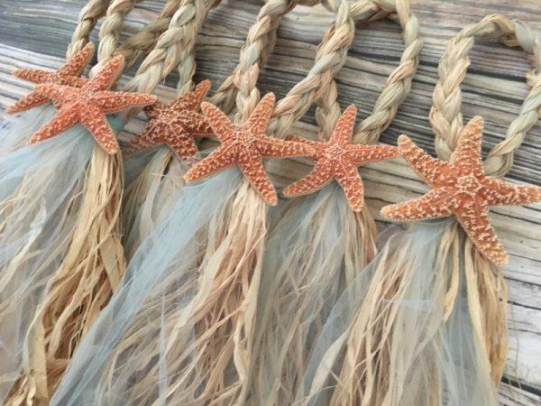 Sugar Starfish Braided Tulle Wedding Pew Bows