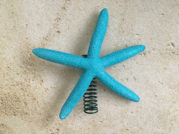 Blue turquoise Glitter starfish Christmas tree topper 1