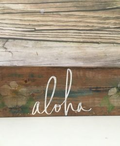 Hawaiian Aloha wood sign