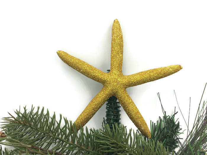 Gold Glitter Starfish Christmas Tree Topper