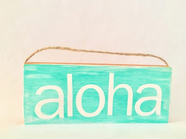 Aloha painted mini wood sign ornament