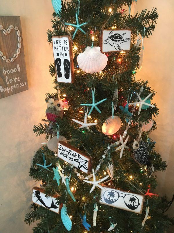 Beach Christmas Wood sign ornaments