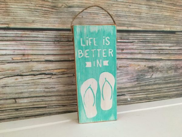 Flip flop mini wood sign ornament 3