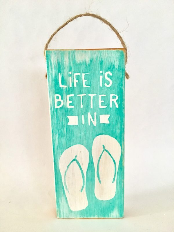Flip flop mini wood sign ornament 4