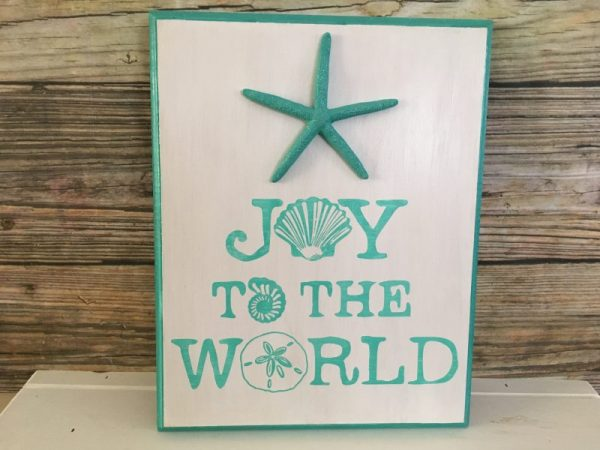 Joy to the world seashell beach Christmas Sign 2