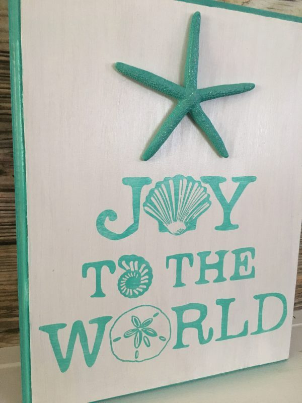 Joy to the world seashell beach Christmas Sign 3