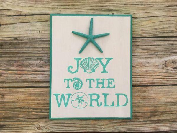 Joy to the world seashell beach Christmas Sign 4
