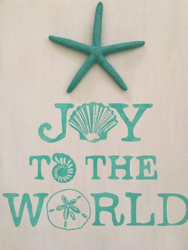 Joy to the world seashell beach Christmas Sign 5