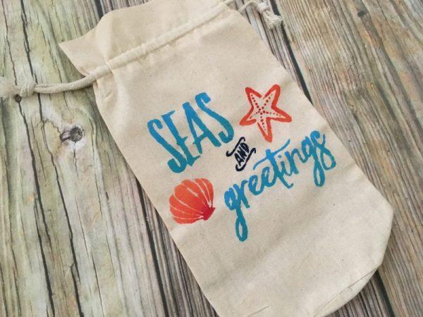 Sea and greetings Christmas wine gift bag 2