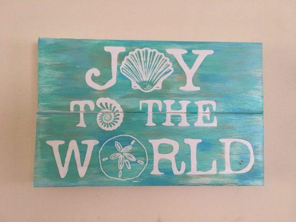 Beach Joy to World Christmas Holiday Sign