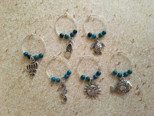 Coastal Beach Wine and Champagne Glasses Charms 1