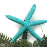 blue turquoise glitter starfish christmas tree topper