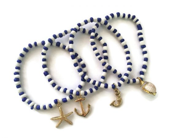 Nautical Beach beaded bracelet set 4