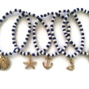 Nautical Beach theme and seashell beaded bracelet set