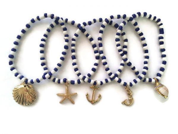 Nautical Beach theme and seashell beaded bracelet set