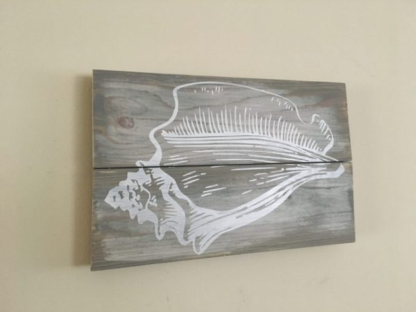 Tropical Conch Seashell Wood Sign 1