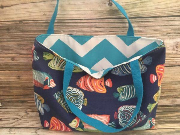 Tropical Reversible Fish Beach Tote Bag