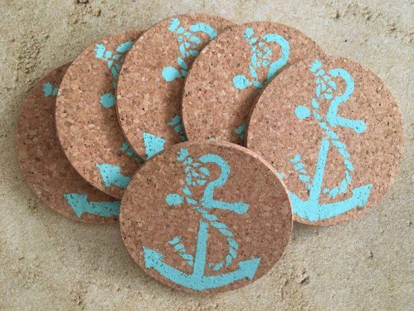 Turquoise Anchor Coaster Set