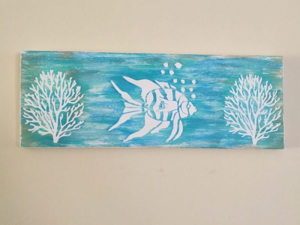 Turquoise Fish and Coral Wood Decor 2