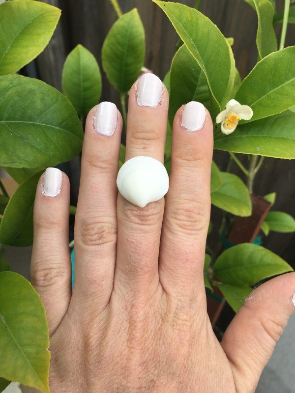 White Seashell Adjustable Ring 1
