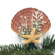 shell christmas tree topper with snow finish