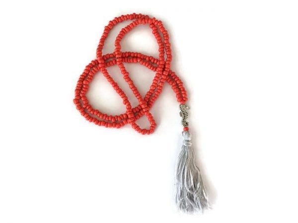 Coral beaded mala seahorse necklace