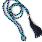 Navy Blue and Turquoise Starfish Mala Necklace