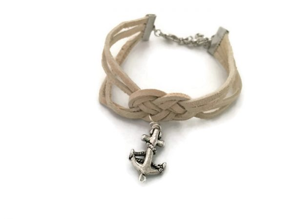 Suede Nautical Sailor's Knot Bracelet with Silver Anchor Charm