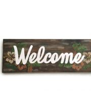 Tropical Rustic Welcome sign with Hibiscus Flowers