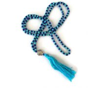 Turquoise and Navy Blue Seashell Mala Necklace 1