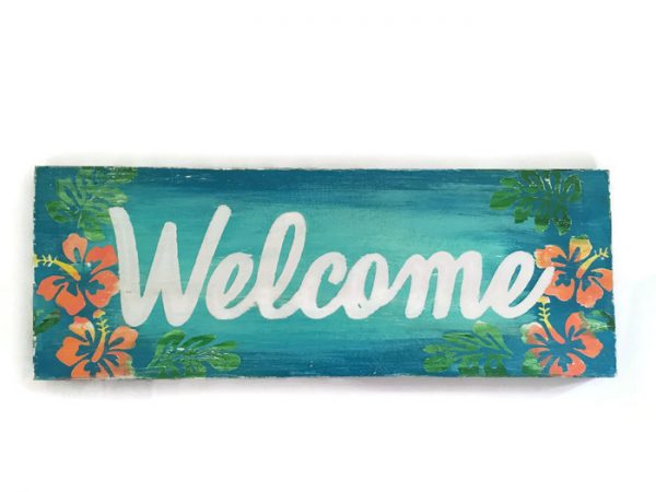Tropical Welcome Sign with Colorful Hibiscus Flowers