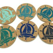 Colorful Sail Boat Drink Coasters, 6