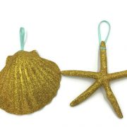 Gold Seashell and Starfish Ornament 1