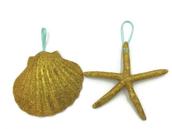 Gold Seashell and Starfish Ornament 1