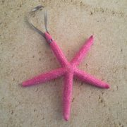 Pink glitter starfish ornament 1