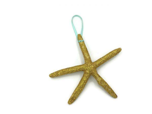 Very Glittery Gold Starfish Ornaments