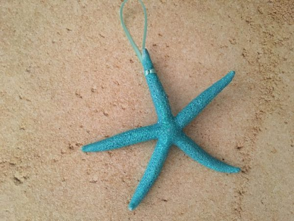 Very Glittery Turquoise Starfish Ornaments