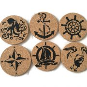 nautical coastal cork coasters