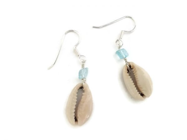 Cowrie Seashell Earrings with Turquoise Bead