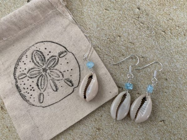 Cowrie Necklace and Earring Set with Turquoise Bead