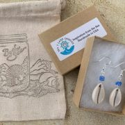 Cowrie With Blue Turquoise Bead Earrings 2