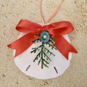 Holiday Sand Dollar Ornament with Coral Ribbon 2