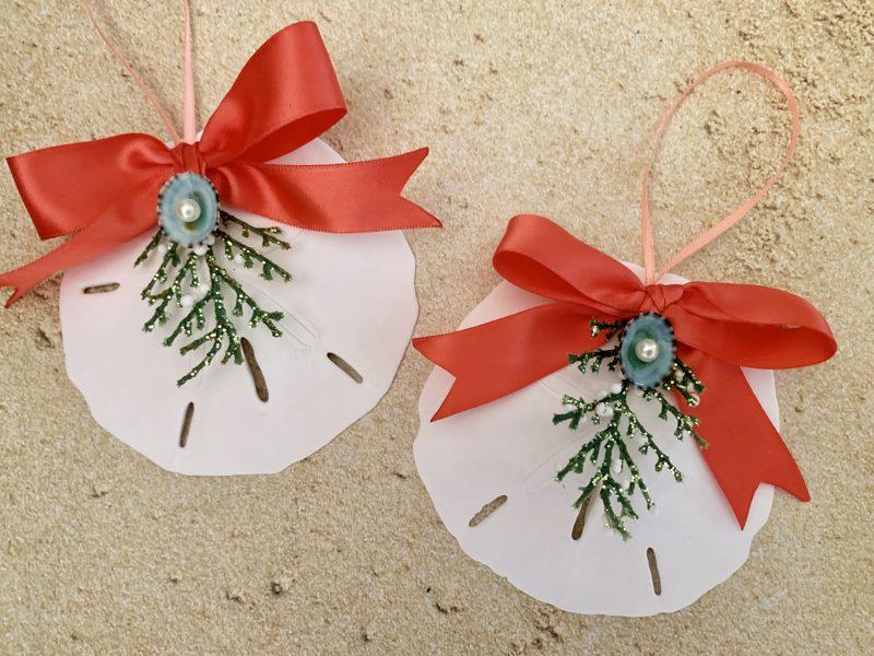 Natural Sand Dollar Christmas Ornaments With Coral Ribbon Bow Set Of 6