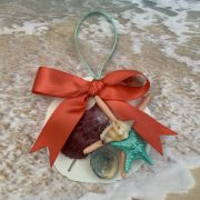Mermaid Sand Dollar and Seashell Christmas Ornament with Coral Bow