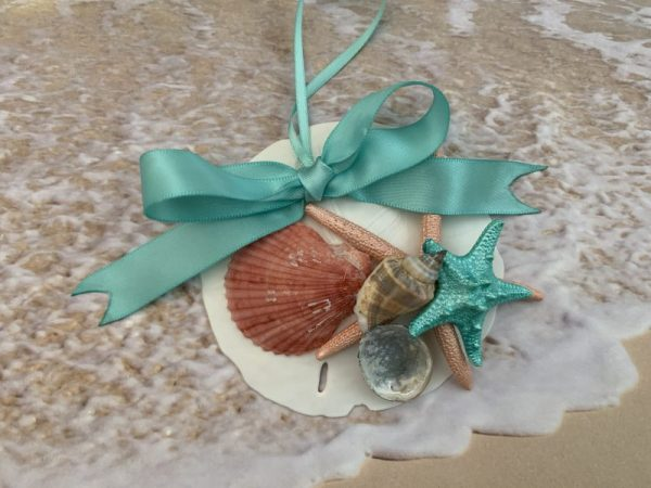 Mermaid Sand Dollar and Seashell Christmas Ornament with Turquoise Bow