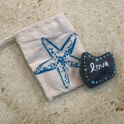 1.45 Heart Shaped Beach Stone Hand painted