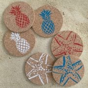 Red White Blue Pineapple and Starfish Coasters