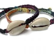 Colorful adjustable Cowrie Hemp Bracelets
